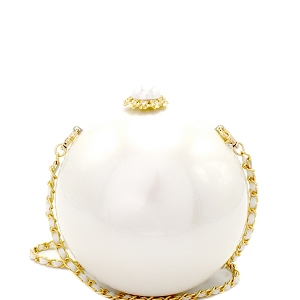 F5100 Pearl Closure Pearl Theme Dressy Ball Clutch White