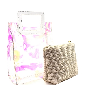 HL011 Handle Accent Hologram Transparent 2 in 1 Carry Bag White