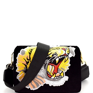 J031 Embroidered Tiger Patch Felt-Suede Flap Shoulder Bag Black
