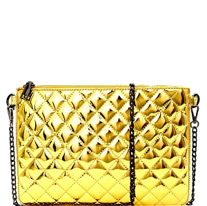 P6070 Hematite Hardware Quilted Metallic Flat Clutch Gold