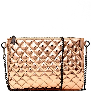 P6070 Hematite Hardware Quilted Metallic Flat Clutch Rose-Gold