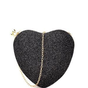 PL0013 Heart-Shaped Glittery Hard Frame Clutch Black