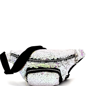 PL0303 Sequin Embellished Fashion Fanny Pack White