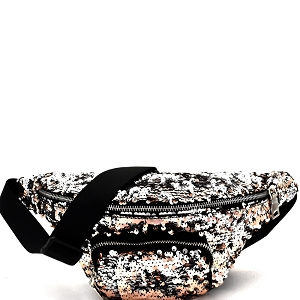PL0303 Sequin Embellished Fashion Fanny Pack Gold