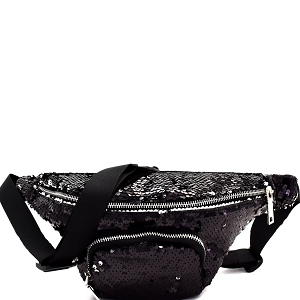 PL0303 Sequin Embellished Fashion Fanny Pack Black
