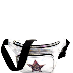PL0307STAR Glittery Star Accent Iridescent Metallic Fanny Pack Silver