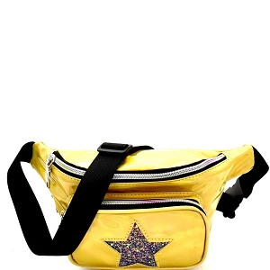 PL0307STAR Glittery Star Accent Iridescent Metallic Fanny Pack Gold
