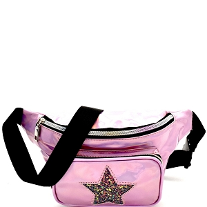 PL0307STAR Glittery Star Accent Iridescent Metallic Fanny Pack Pink