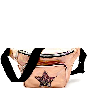 PL0307STAR Glittery Star Accent Iridescent Metallic Fanny Pack Rose-Gold