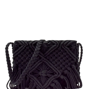 PL0312 Fringe Accent Thick Knitted Flap Shoulder Bag Black