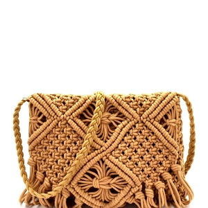 PL0312 Fringe Accent Thick Knitted Flap Shoulder Bag Camel