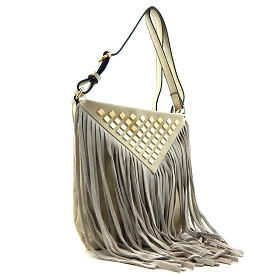 BGA15260 Stud Accent Leather Fringe Cross Body Light-Gray