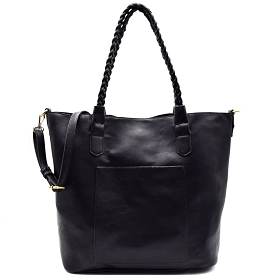 BGA6080 Braided Handle 2 Way Shopper Tote Black