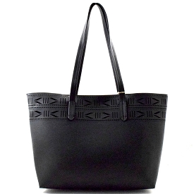 BGA6617 Tribal Aztec Pattern Laser-cut Shopper Tote Black