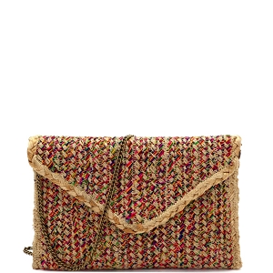 BGA_IN07 Handmade Heavy Woven Straw Boho Envelope Clutch Cross Body Multi