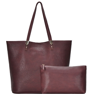 BGO83810 Hardware Accent Textured Faux-Leather 2 in 1 Shopper Tote Berry