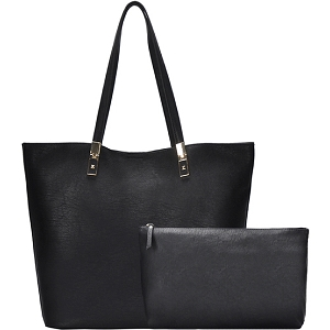 BGO83810 Hardware Accent Textured Faux-Leather 2 in 1 Shopper Tote Black