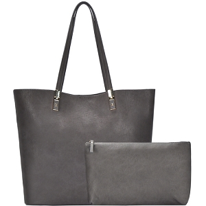 BGO83810 Hardware Accent Textured Faux-Leather 2 in 1 Shopper Tote Gray