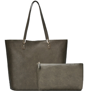 BGO83810 Hardware Accent Textured Faux-Leather 2 in 1 Shopper Tote Olive