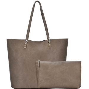 BGO83810 Hardware Accent Textured Faux-Leather 2 in 1 Shopper Tote Taupe