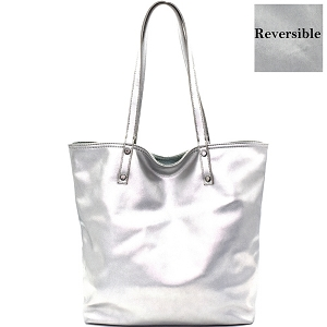 BGS0837 MMS Reversible Metallic Soft Leather-like Tall Tote Light-Denim/Silver-Hologram