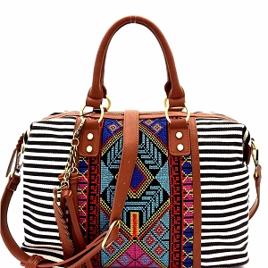BGS15731 Aztec & Stripe Print Boston Satchel Black