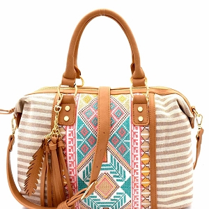 BGS15731 Aztec & Stripe Print Boston Satchel Beige