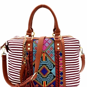 BGS15731 Aztec & Stripe Print Boston Satchel Burgundy