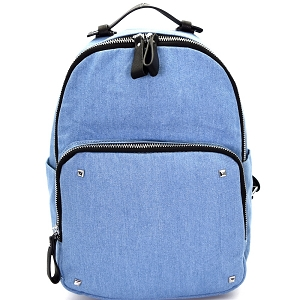 BGS47749 Multi Pocket Denim Fashion Backpack Light-Blue