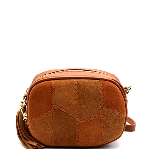BGS48449 MMS Leather Suede Tassel Patchwork Camera Bag Cross Body Tan