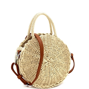 BGS82626 Bohemian Straw 2-Way Round Medium Satchel Cream