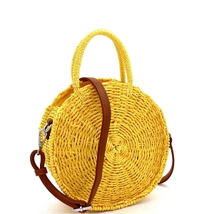 BGS82626 Bohemian Straw 2-Way Round Medium Satchel Yellow
