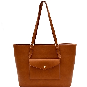 BGT48812 Myztique Front Pocket Large Classy Shopper Tan