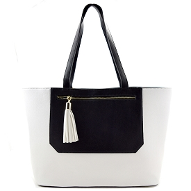 BGT6645 Tassel Accent Front Pocket Oversized Shopper Tote White/Back