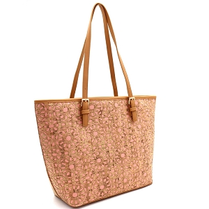 BGT86420 Laser-Cut Mixed-Material Cork Shopper Tote Blush