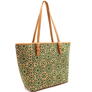 BGT86420 Laser-Cut Mixed-Material Cork Shopper Tote Green
