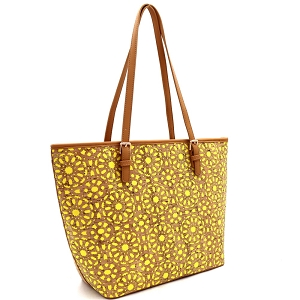 BGT86420 Laser-Cut Mixed-Material Cork Shopper Tote Yellow