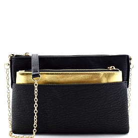 BGW15952 Madison West 2 in 1 Removable Metalic Pouch Accent Clutch Black/Gold