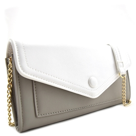 BGW16739 Button Accent Flap Cross Body with Wallet Space Gray/White