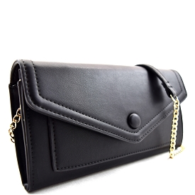 BGW16739 Button Accent Flap Cross Body with Wallet Space Black