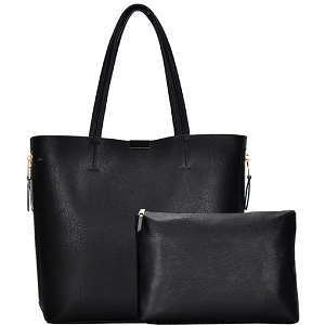 BGW3407 Hardware Accent Side Zipper Pocket 2 in 1 Shopper Tote Black