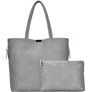 BGW3407 Hardware Accent Side Zipper Pocket 2 in 1 Shopper Tote Gray