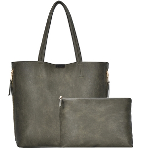 BGW3407 Hardware Accent Side Zipper Pocket 2 in 1 Shopper Tote Olive