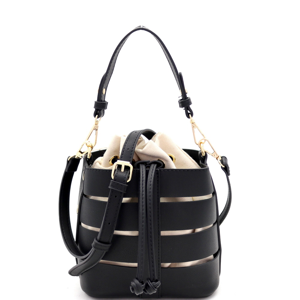 BGW81916 Cut-Out Drawstring Mixed-Material 2 in 1 Bucket Medium Satchel Black