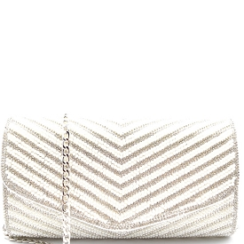 CLR2064 Starlet Rhinestone and Pearl Embellished Clutch Silver