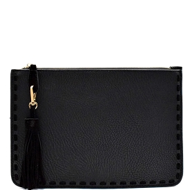 CLW47320 Madison West Leather-Tassel and Stitch Accent Boho Clutch Black