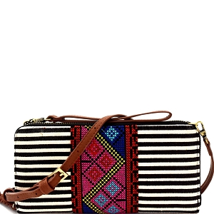 WLS55358 Aztec & Stripe Print Versatile Organizer Cross Body Black