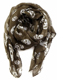 SCFH8431 Skull Pattern Scarf Taupe