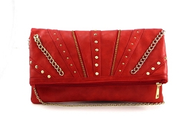 SPC059 Stud and Chain Fashion Fold-over Clutch Coral
