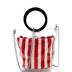 264T Round Handle 2 in 1 Transparent Clear Satchel with Pinstriped Inner Bag Red